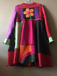 Upcycled Colorful Loose Fit Patchwork Sweater Dress or Tunic