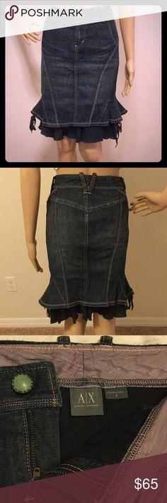 A/X Gorgeous, form fitting bottom flair jean skirt Authentic-Vintage, Lightly worn. 98% Cotton/ 2% Spandex A/X Armani Exchange Skirts Midi