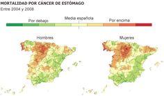 Un atlas con datos de un millón de muertes señala zonas donde el riesgo de morir por ciertos tumores es más de un 50% mayor. Hay puntos rojos de cáncer de vejiga en zonas industriales de Andalucía y Cataluña, y áreas con mayor riesgo de tumores de pulmón en Galicia