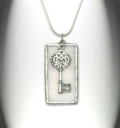 Stained Glass Pendant with Key by AfricanSand on Etsy, $20.00