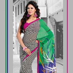 Off White, Black and Green Faux Georgette Saree with Blouse