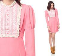 60s Mini Dress Crochet Lace Bib Pink 1960s Babydoll by ShopExile
