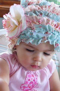 ruffled baby bonnet hat.