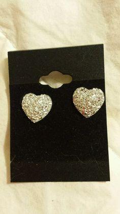 Heart silver earrings small silver sparkly hearts earrings us seller stud peirce
