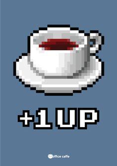 + 1 up, super mario cafea, coffee, office, energie, energy, experienta, pixel, experienta celei mai bune cafele, chiar la biroul tau, coffee poster, afis cafea, cafea la birou. Copyright Office Caffe 2014.