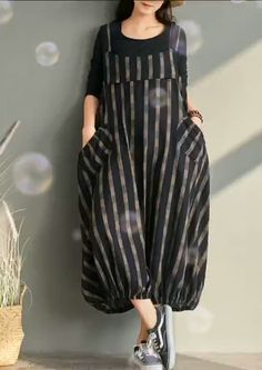 Spring plus size plus fertilizer to increase bloomers striped cotton and linen jumpsuit Linen Dresses, Cotton Dresses, White Jumpsuits And Rompers, Fashion Wear, Fashion Dresses, Dress Sewing Patterns, Stylish Outfits, Couture, Harem Pants