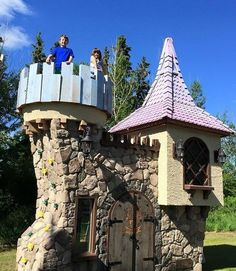 Incredible castle themed backyard playhouse