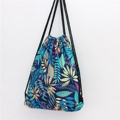 d1b3850330760 EXCELSIOR Flower Printed Canvas Drawstring Bag Women Mochila Bucket Travel  School Backpack Casual Sack Pack Shoulder Bags