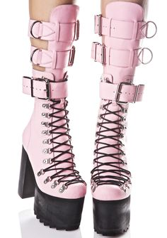 Current Mood Love Defender Boots are here to protect yer sweet honor. These incredible boots feature a super smooth baby pink colored vegan leather construction, with ultra treaded platforms, sikk full length D-ring lace-ups that go all tha way to the toe, an elongated shin-guard style tongue that wraps yer legz with thick adjustable buckles 'N D-ring detailing, buckled ankle strap, and exXxposed side zipper closures.