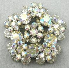 DeLizza & Elster Rhinestone & Aurora Snowflake Brooch - Garden Party Collection Vintage Jewelry
