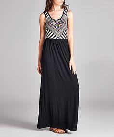 Look at this #zulilyfind! Black & White Geometric Maxi Dress by Lydiane #zulilyfinds