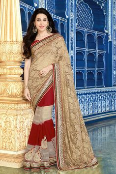 Specifications : Fabric Details Material  Net+Georgette Length  6.3 Mtr Blouse Raw Silk(Unstitched) General Details Work Designer Type Saree Occasion Party Wear
