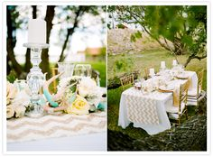 chevron table runner and crystal candle sticks | ph. Cassidy Brooke  | styling Ashley Nicole Events via 100LayerCake