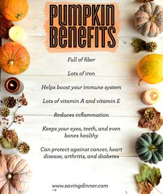 Fall is here and you know what that means. Pumpkins are full of great health benefits. And it's a very versatile gourd from pie, to soup, to decoration, a pumpkin is a beautiful thing. What's your favorite way to enjoy pumpkin? Pumpkin Nutrition Facts, Pumpkin Health Benefits, Herbs For Health, Health Tips, Vegetable Benefits, Whole Food Recipes, Healthy Recipes, Foods To Avoid, Food Facts