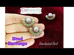 Cobeads Tutorial || Simple Stud Earrings || DIY Pearl Earrings - YouTube Diy Earrings Studs, Beaded Earrings, Pearl Earrings, Beading Projects, Beading Tutorials, Earring Tutorial, Make Your Own Jewelry, Bead Weaving, Beautiful Earrings