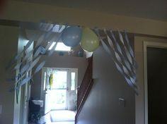 Streamer and balloon idea for boy birthday party