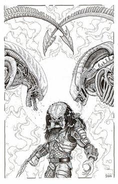 Alien/Predator Commission by Cody Schibi, in Alex Hunter's Everything else Comic Art Gallery Room Alien Drawings, Dark Art Drawings, Tattoo Design Drawings, Arte Alien, Alien Art, Predator Cosplay, Giger Art, Alien Vs Predator, Robot Concept Art