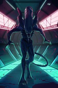 Neon Alien by on DeviantArt Predator Movie, Predator Alien, Wolf Predator, Les Aliens, Aliens Movie, Arte Alien, Alien Art, Alien Creatures, Fantasy Creatures
