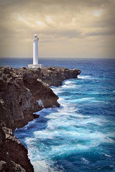 Cape Zanpa Lighthouse, Okinawa, Japan (by Jason Kimball) Places Around The World, Around The Worlds, Beautiful World, Beautiful Places, Lighthouse Pictures, Okinawa Japan, Japan Japan, Japan Art, Am Meer