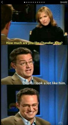 He looks so proud of himself<<<< of coarse he does he's Matthew Perry<<<< who looks like Chandler Bing. Serie Friends, Friends Episodes, Friends Moments, Friends Tv Show, Friends Forever, Friends Tv Quotes, Chandler Friends, Friends Cast, Funny Friend Memes