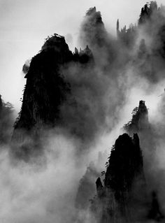 Wang Wusheng was born in the city of Wuhu in China's Anhui Province and graduated from Anhui University's School of Physics. Chinese Landscape Painting, Landscape Drawings, Chinese Painting, Chinese Art, Landscape Paintings, Asian Landscape, Japanese Prints, Japanese Art, Monochromatic Art