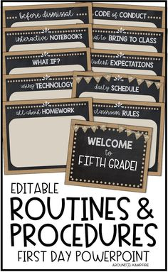Establish Routines and Procedures- Teach and practice important classroom routines, rules, and procedures on the first day of school with this editable PowerPoint. Welcome your students back to school, introduce their new classroom, and explain expectations. Includes 50 classroom management categories with blank templates to create your own. #classroommanagement #backtoschool #routinesandprocedures #firstdayofschool #secondgrade #thirdgrade #fourthgrade #fifthgrade