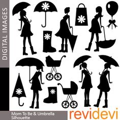Pregnant woman Clipart - Mom To Be and Umbrella Silhouette 07347 - Digital clip art - commercial use for personalized invites, cards. $4.00, via Etsy.