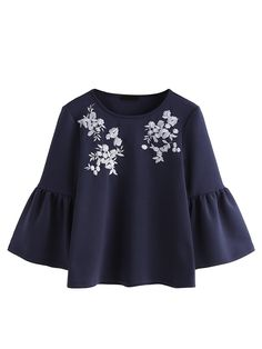 online shopping for Romwe Women's Cute Round Neck Embroidered Bell Sleeve Blouse Top from top store. See new offer for Romwe Women's Cute Round Neck Embroidered Bell Sleeve Blouse Top Modest Fashion, Hijab Fashion, Teen Fashion, Fashion Dresses, Blouse Styles, Blouse Designs, Trendy Outfits, Cute Outfits, Bluse Outfit