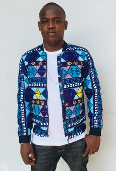 African Wear, African Fashion, Men Fashion, Printed Bomber Jacket, Bomber Jackets, Ankara Styles For Men, Shirt Print Design, African Design, Printed Shirts