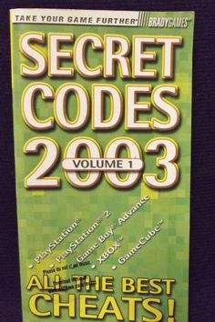 Check out #Secret #Codes 2003 Volume 1 Paperback Book #BradyGames #PlayStation #XBOX Gameboy
