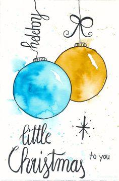 Last Minute Karten zu Weihnachten selber machen   Watercolor Christmas Card with Ornaments   little Christmas