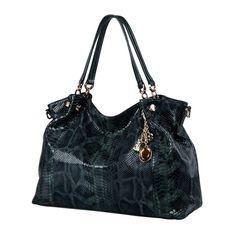 Genuine Leather Snakeskin Shoulder Handbag