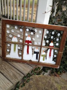 LET IT SNOW hand painted window is available for purchase at MishMosh, Inc. in Downtown Reidsville, NC Rustic Christmas, Christmas Art, Christmas Projects, Christmas Holidays, Christmas Decorations, Christmas Ornaments, Painted Windows For Christmas, Window Frame Crafts, Old Window Decor