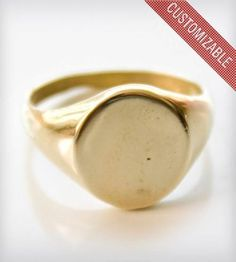 Basic Gold Signet Ring. >>> Learn more by going to the photo