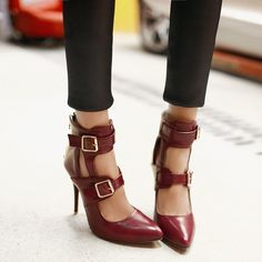 Red Bottom Double Buckle Stiletto Shoes