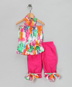 Take a look at this Hot Pink Floral Halter Top & Shorts - Girls by Lele for Kids on #zulily today!