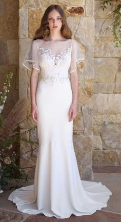 Featured Dress: Claire Pettibone Romantique,Featured Photographer: Feather and Stone; Wedding dress idea.
