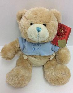 "Keel Toys Baby Boy Teddy Bear Plush Blue Brown Diaper New Stuffed 9"" #Keel"