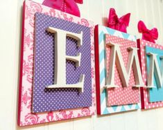 Nursery letters, Pink and Purple Nursery Letters,Personalized letters, Girls Nursery Letters,Custom nursery letters, Girls Wall Letters