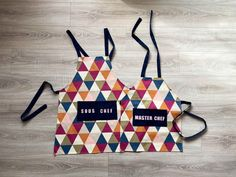 Parent and child matching aprons sous chef and master chef   Etsy Felt Letters, Kids Apron, Master Chef, Tie Knots, New Set, Navy Stripes, Aprons, Hand Sewing, Birthday Cards