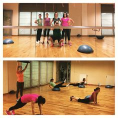 Woman workout on bosu, motivacion and hard work
