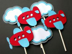 Airplanes and Clouds Cupcake Toppers MADE TO ORDER by paperpeddler, $14.00