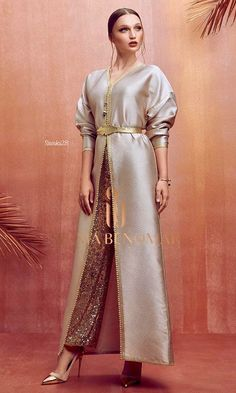 Selma ben omarYou can find Moroccan dress and more on our website. Turkish Fashion, Oriental Fashion, Indian Fashion, Indian Designer Outfits, Designer Dresses, Abaya Fashion, Fashion Dresses, Muslim Fashion, Caftan Dress