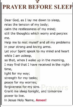 Prayer before sleep Prayer Scriptures, Bible Prayers, Faith Prayer, God Prayer, Power Of Prayer, Prayer Before Sleep, Sleep Prayer, Bedtime Prayer, Peace Quotes