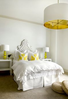 Yellow and white bedroom. {love} if I didnt live in az I would totally have light fixtures like this all over my house to replace fans