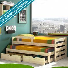Cama compacta de 3 pisos + 2 Cajones individuales + 2 Almohadas + 2 Colchones + Barrera