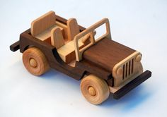 Wooden Toy Truck - Off-road Vehicle - Classic Jeep - Natural Hardwood on Etsy, $50.00