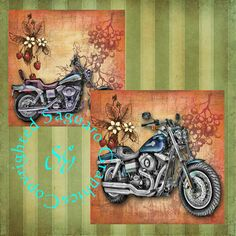DYNA Motorcycles Art  Digital Collage sheets by SaguaroGraphics, $4.50