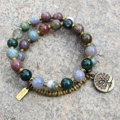 Protection, genuine fancy jasper 27 beads mala bracelet with Tree of life charm