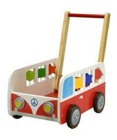 Help mini movers take their toys and plushy pals with them wherever they go with this darling push car. Crafted entirely from wood and featuring built-in spinning shapes, this sweet piece is designed to outlast years of imaginative play and tough treatment.